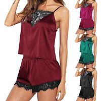 Women Sleepwear Sleeveless Strap Nightwear Lace Trim Satin Cami Top Pajama Sets