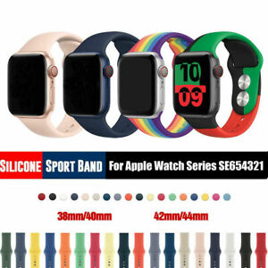 Silicone Band Strap for Apple Watch Sports Series 7 6 SE 5 4 3 2 1 38/40/42/44mm