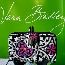 New Vera Bradley in SCROLL MEDALLION RFID Turnlock zip-around Purple Wallet