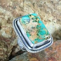 Chic 925 Silver Ring Square Turquoise Women Jewelry Wedding Party Men Size 6-10