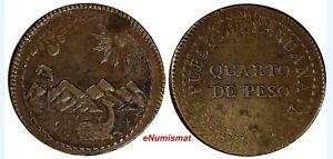 PERU Provisional Coinage Copper 1823 LIMA 1/4 Peso UNC KM# 138 (14 548)