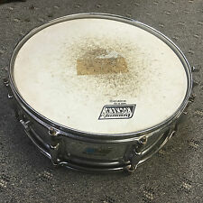 VTG 80's LUDWIG SNARE DRUM  BLUE & OLIVE BADGE 8 LUG CHROME FINISH