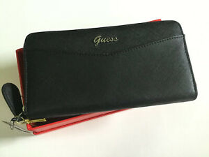 Guess Wallet Gleeson SLG Z7079599 Black Woman Clutch Zip around Gift Box New