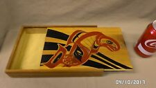 1993M Vtg HAIDA Wood Box w/Sliding Lid Hand Painted Fish Symbol Finger Joint EXC