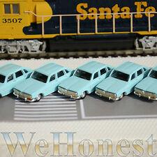 5 x Metal Model Cars 1:87 HO Scale for Building Railroad Train Scenery Blue