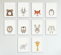 Peekaboo Animal Prints for Nursery Prints Set Baby Christening Bedroom Decor A4