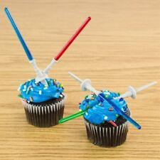 12 Star Wars Light Saber Cake Cupcake Toppers Picks Stick Yoda Darth Vader Luke