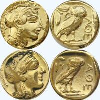 Athena & Owl 2 Versions Goddess of Wisdom Greek Coins Percy Jackson Fans(12+77G)