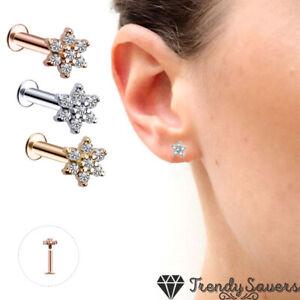 Cute Zircon Stud Earrings Tragus Ear Stud Piercing Bod 1 Piece Surgical Steel