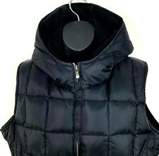 Old Navy Womens Puffer Vest Down Filled Black Quilted Coat Hood Zip Size XL