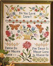 """Vintage """"Do You Love Life"""" Stamped Cross Stitch Linen Sampler Kit"""