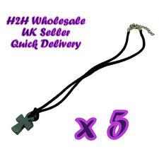 5 Hematite Haematite Cross Crucifix on Black Velvet Thong Necklaces-UK Wholesale