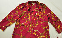 women's Croft & Barrow burgundy printed blouse size small long sleev MSRP $40.00