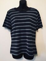Casual Corner Striped Top Blue Black Gray Womens Size Medium