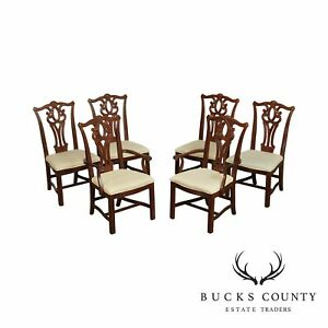Chippendale Style Set 6 Mahogany Dining Chairs