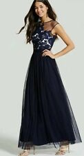 New *Little Mistress* (size Uk 12) Navy Mesh , Crochet Detail Maxi Dress ,