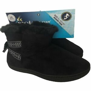 Isotoner Womens 8.5 9 Black Faux Fur Booties Slippers Memory Foam #GG813