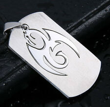 316L Stainless Steel Silver Dragon Pendant 50cm Leather Chain Dog Tag
