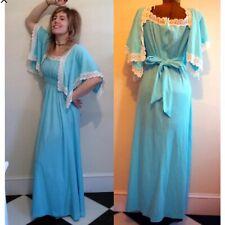 1970s vintage dress blue white handmade magic Medium maxi vtg formal summer fun