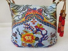 SHARIF COGNAC HAND PAINTED FLORAL LEATHER SHOULDER PURSE - NEW W TAG