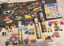 NIP Olive Kids Under Construction 15 Yd. Wall Paper Border + 48 Cut-outs Lot