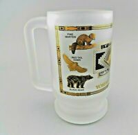 Frosted Glass Beer Mug Stein Yellowstone National Park Gold & Black Trim EUC
