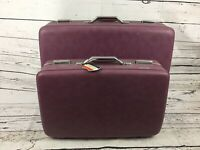 Vintage American Tourister Purple Original Hard Shell Luggage Suitcases 2 Lot