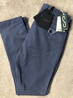 "TED BAKER BLUE ""TEGATIN"" SLIM FIT TROUSERS PANTS CHINOS - 30R - NEW & TAGS"