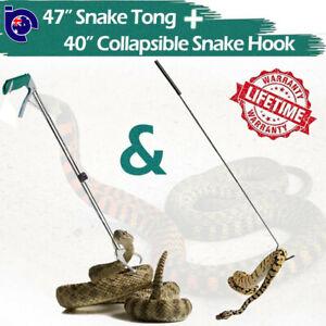 "47"" Collapsible Snake Tongs Catcher+40"" Snake Hook Reptile Grabber Handling Tool"