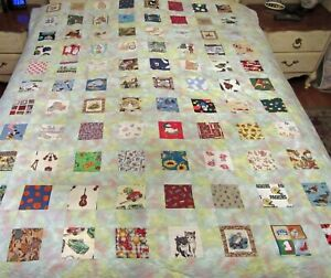 Patchwork Quilt w/ 88 all Different Novelty Fabrics Blocks 68x88 bedspread hand