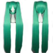 """USPS Ship Hatsune  Cosplay Full Wig 32""""/40"""" Long Ponytail Wigs Blue Pink L5"""