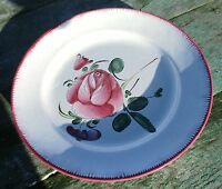Antique Porcelain Plate  Strasbourg French Faience Luneville Rose
