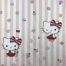 Hello Kitty Kitta rayures rose Nouveauté Tissu 100% COTON KIDS ENFANTS par mètre
