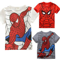 Kids Boy Cartoon Spiderman Clothes Short Sleeve T-shirt Superhero Casual Top Tee