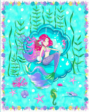 """Mermaid Ocean Coral Cotton Fabric Traditions Creation Station Packaged 36"""" Panel"""