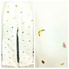 Kids Girls Gymboree Fruit Print Embroidered White Jeans Pants  Flare Size 9