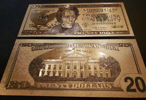 U.S. 20 Dollar gold foil note, series 2009, # JB99999999B