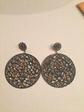 Labradorite And Diamond Large Earrings