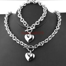 New Womens Silver Stainless Steel Rolo Link CHain Heart Toggle Necklace Bracelet