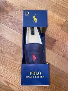 NIB Polo Ralph Lauren Men's Suede Moccasin Slippers Navy Blue 10