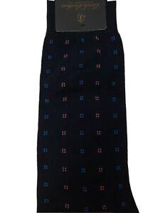 BROOKS BROTHERS Cotton Nylon Dress Casual Socks Dark pink&blue spots Blue NWT B4