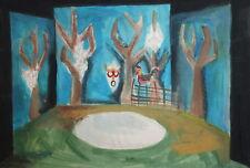 Vintage gouache painting theatre design