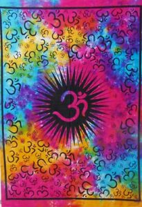 New Hippie Om Yoga Tune Sign Poster TAPESTRY DORM DECOR Art Wall Hanging Mandala