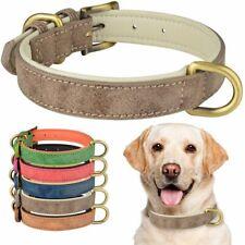Genuine Leather Dog Collar Small Medium Large Adjustable Soft Padded Dogs Collar