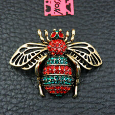 Bee Honeybee Fashion Brooch Pin Gift Hot Betsey Johnson Red Rhinestone Enamel