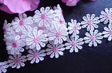 1 inch wide embroidered white/pink daisy Lace trim selling by yard