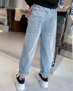 Pants Trousers High Waist Straight Leg Jeans Multicolor Ripped Casual