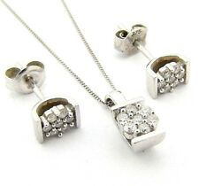 Ladies/womens 9ct 9carat white gold chain + pendant and stud set with diamonds