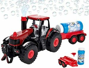 Bump & Go Bubble Blowing Farm Tractor Truck with Light Sound Action For Kids