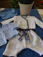 lot=vintage  3piéces poupon40-50cm tricoté  +une offerte  tricoté main